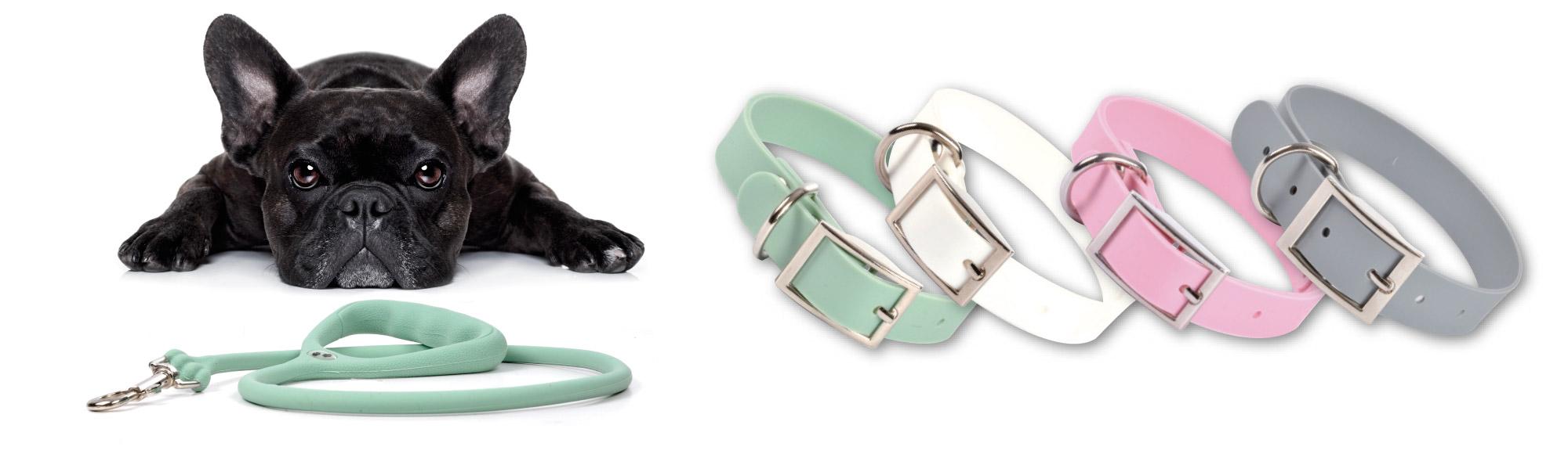 U10-love-story-animalerie-sellerie-collier-ice-silicone-coloris-poudrés rose-gris-blanc-vert menthe.