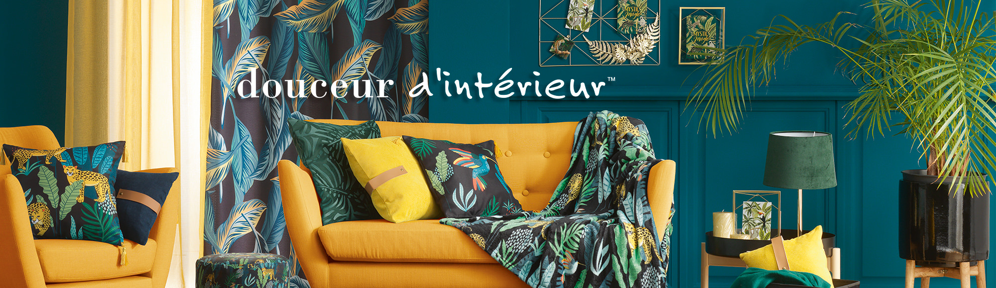 U10 – Douceur d'intérieur brand – Furnishing – Mystic Jungle theme – Curtains, net curtains, cushions, throws, interior decoration, vegetal ornaments, animal