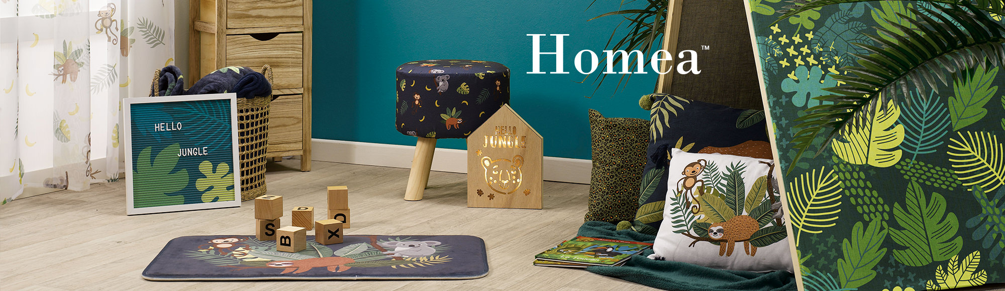 U10 – Homea brand – Kids decoration – Marley theme – mats, cushions, stools, frames, stuffed animals