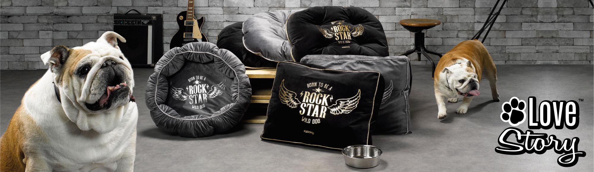 U10 – Love story brand – Pet shop – Rock Angel theme – Mats, cushions, toys, bowls…