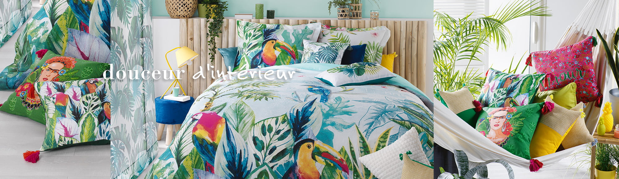 U10 - interior decoration supplier - douceur d interieur - bed linen soft furnishing decoration - jardin exotique collection