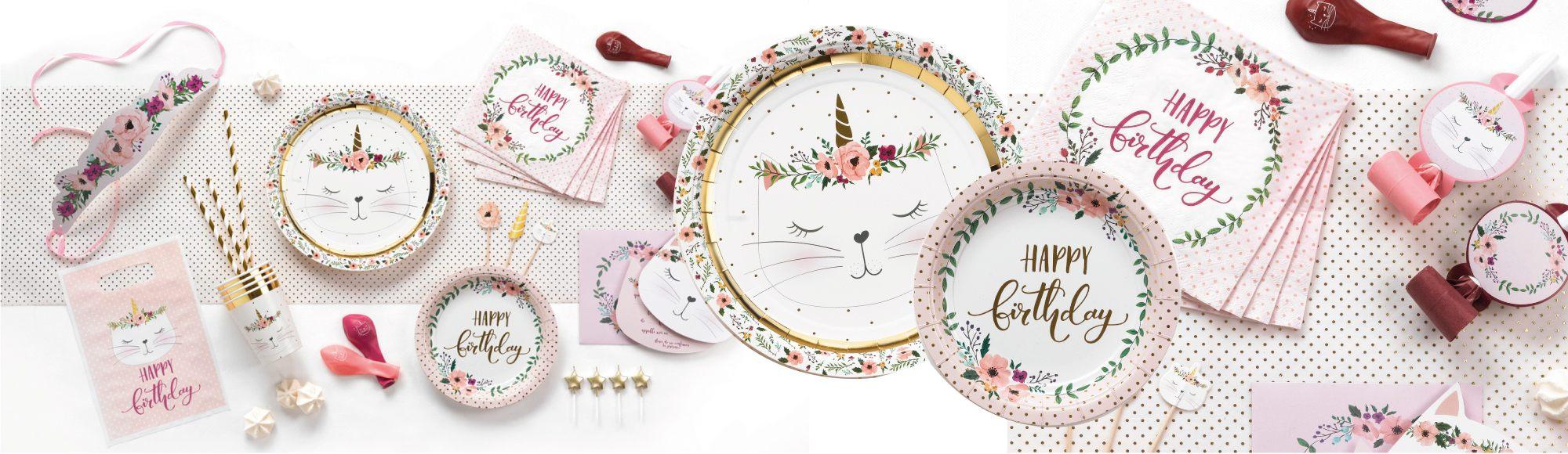 U10 - fournisseur en decoration - rire et confetti - gouter d'anniversaire - jetable - theme chat boho